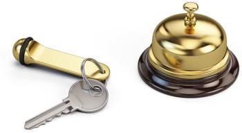 Hotel Müller Köln - herzlich willkommen! [#51406286 – Hotel key and reception bell © Sashkin]